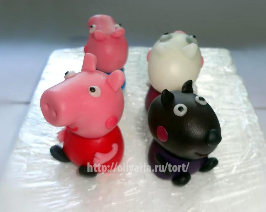 торт свинка пепе из мастики фото